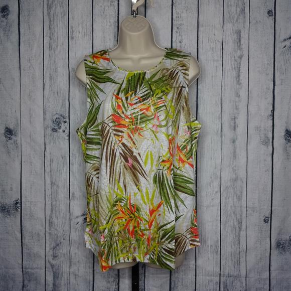 6140076294d6 J Jill Large Love Linen Tropical Sleeveless Top